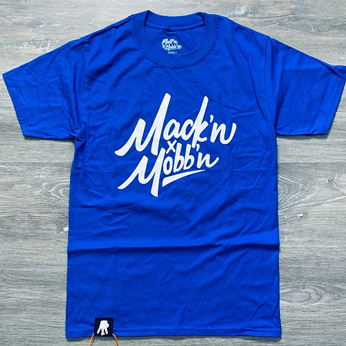 Men / Unisex Mack'n & Mobb'n Royal Blue Tee w/ White Logo