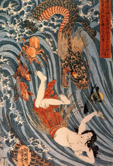 Ama Tamatori and the Dragon King 1840s woodblock print.jpg