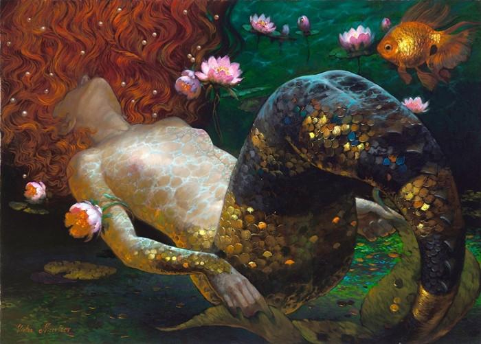 Siren song - Victor Nizovtsev 1965 - Russian Fantasy painter - Tutt'Art@.jpg