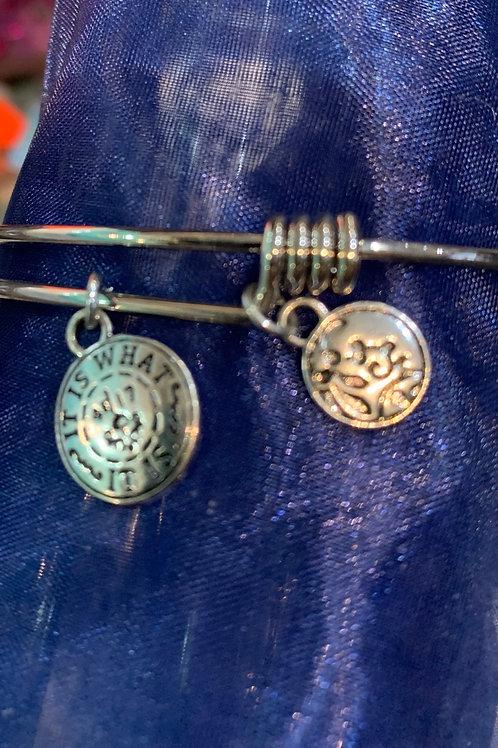 Adjustable Coloured Bracelet- Silver