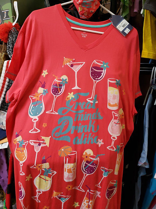 """Ladies Nightshirt """"Great Minds"""" One Size"""