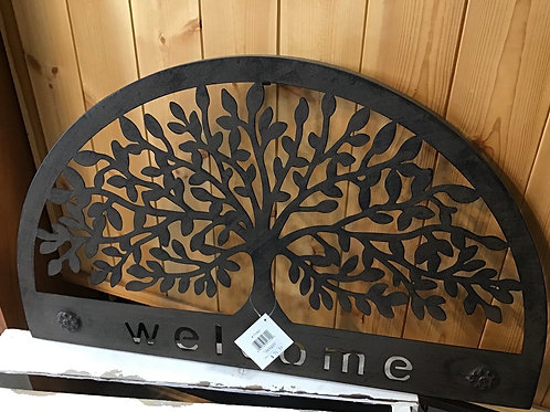 Metal Welcome 1/2 Circle Door Topper  with Trees (Approx. 22Inches)