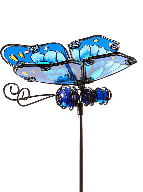"24"" x 5.1"" x 1.6""Metal and Glass Butterfly Garden Stake"