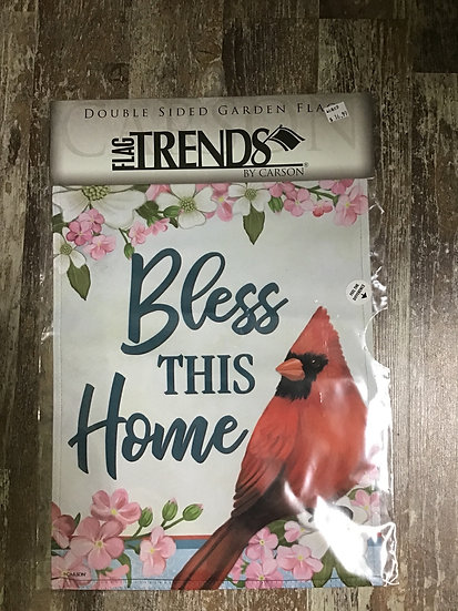 Garden Flag - Bless This House with Cardinal