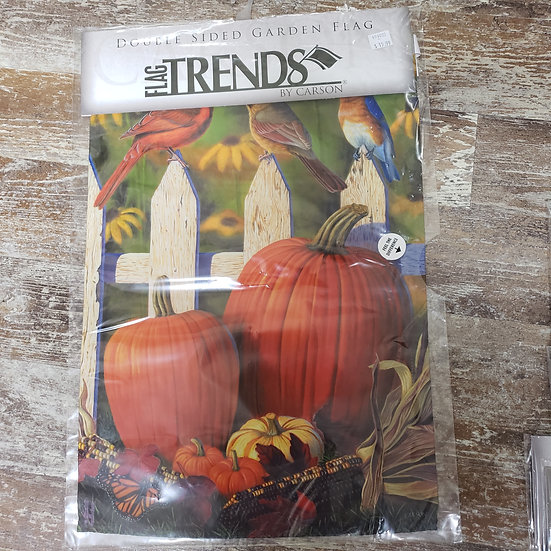 Garden Flag Welcome with Birds and Pumpkins