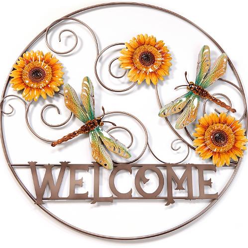 "28.74""""Welcome"" Dragonfly Metal Circle Garden Art"