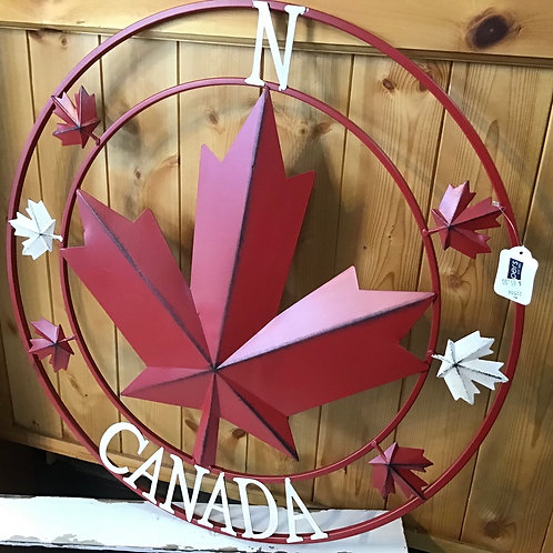 Metal Circle with Maple Leaf (Med )