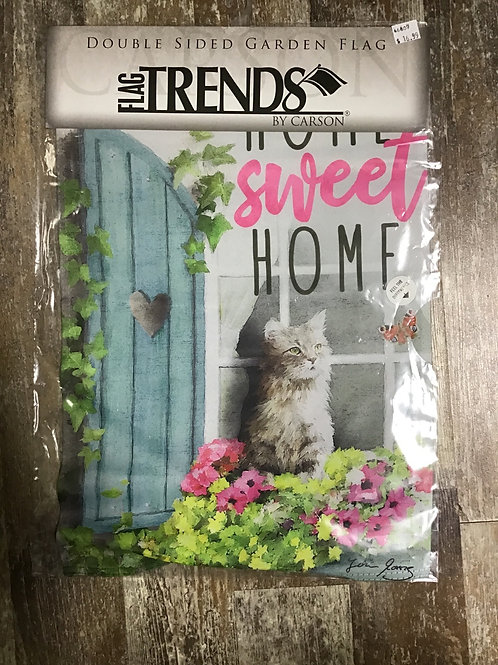 Garden Flag - Home Sweet Home with Cat