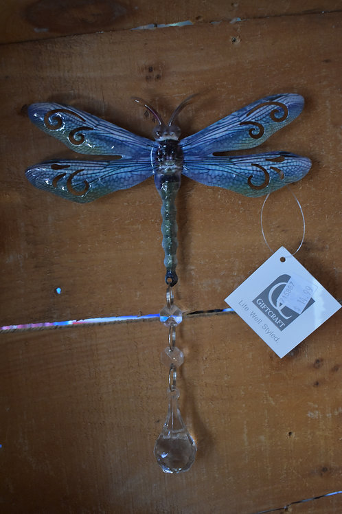 """Blue and Green 9"""" x 6"""" Metal and Crystal Dragonfly Wall Art"""