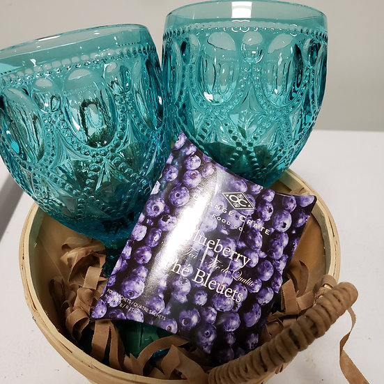 Raised Water Glass -Set of 2 wrapped with 4 pack Tea