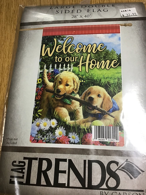 """Large Double Sided Garden Flag-28"""" x 40""""- Puppies"""