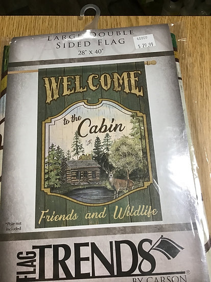 "Large Double Sided Garden Flag-28"" x 40""- Cabin"