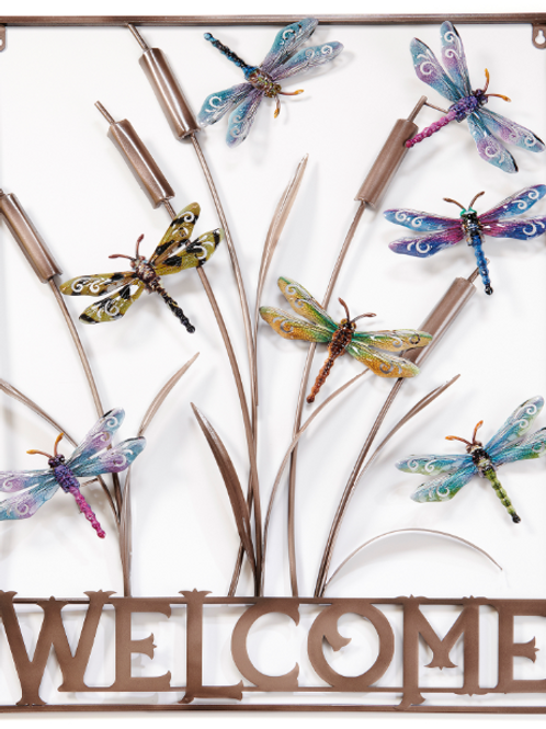 "29.33"" x 22.05"" ""Welcome"" Dragonfly Tree Metal Art"