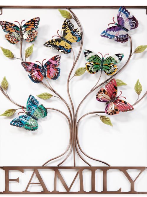 """29.33"""" x 22.05"""" """"Family"""" Butterfly Tree Metal Art"""