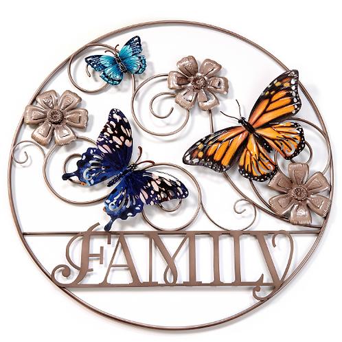 """28.74""""""""Family"""" Butterfly Metal Circle Garden Art"""