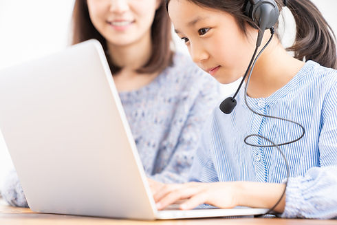 asian girl studying with a PC,correspond