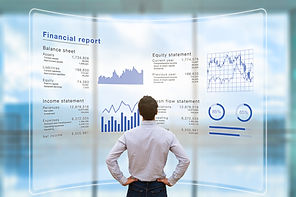 Businessman analyzing financial report d