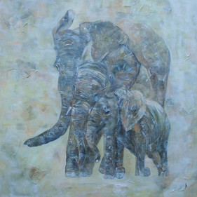 Elephants in the mist. afm.80x80cm
