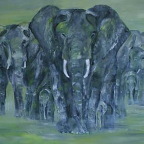 Elephants green/SOLD