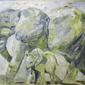 Elephant and kid/SOLD