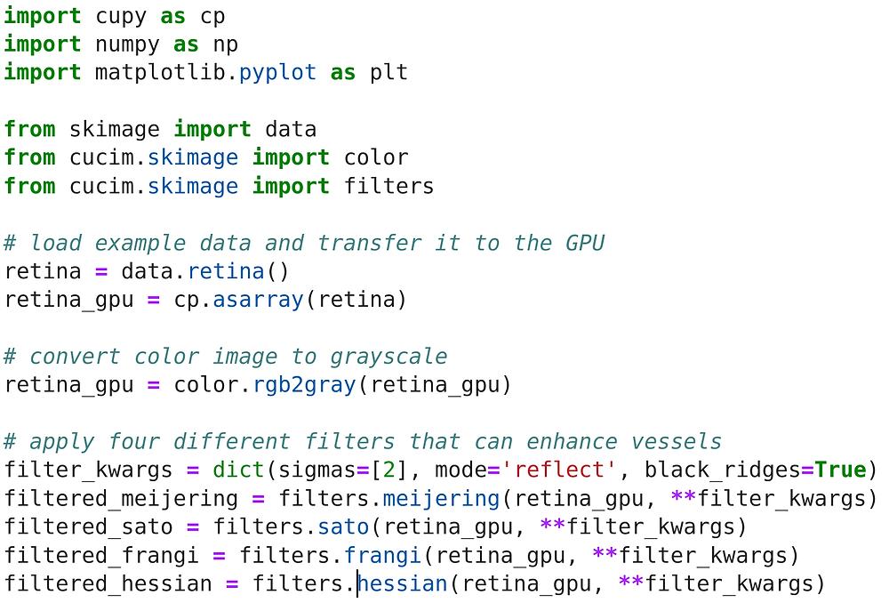 Python source code demonstrating image filtering on the GPU