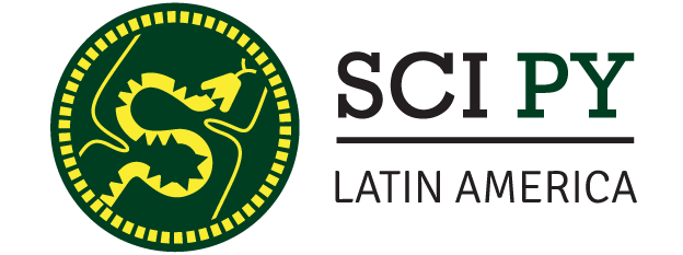 A green and yellow Latin America version of the Scipy logo