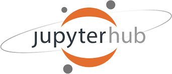 A picture of an orange and gray Jupyterhub logo