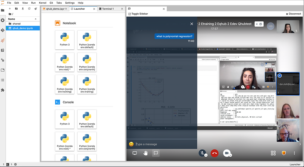 A screenshot showing a video call in a Jupyterhub tab