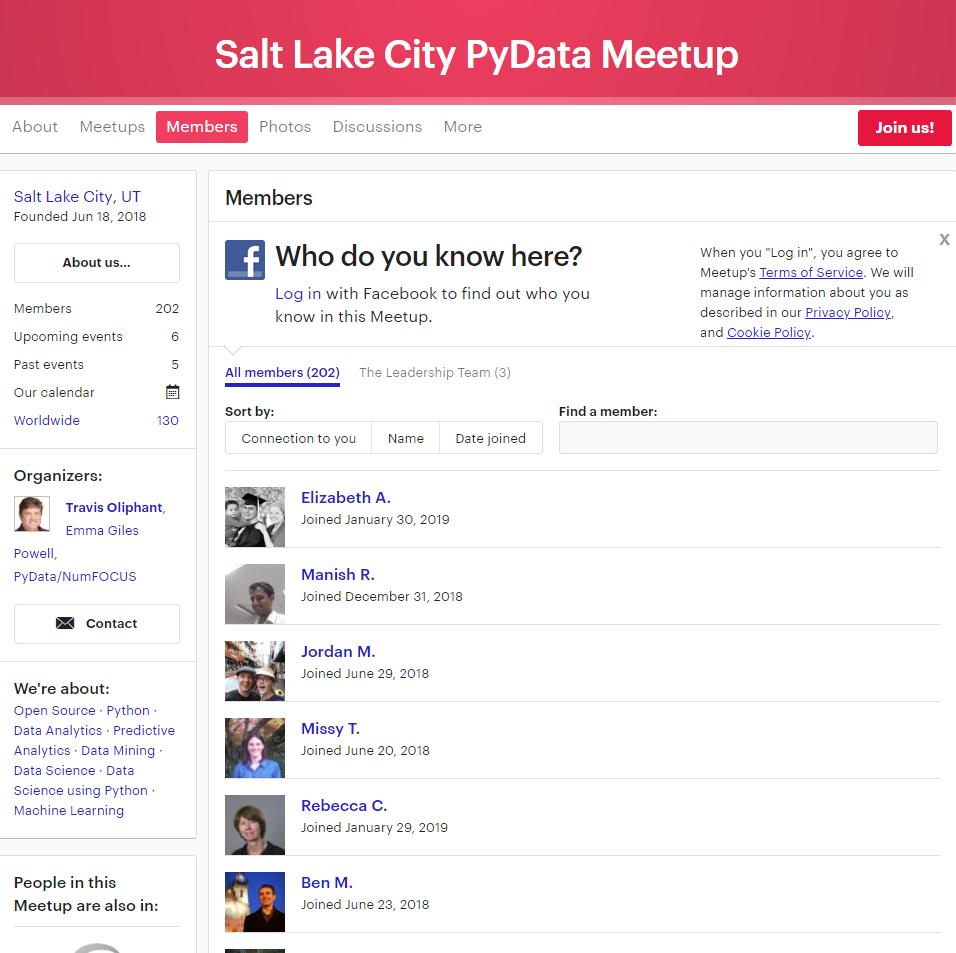 A screenshot of the Meetup website showing the Salt Lake City PyData Meetup members tab