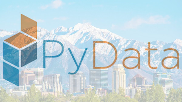 The PyData logo with a picture of Salt Lake City, Utah in the background