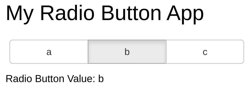 Example button widget with button 'b' selected and markdown text displaying 'Radio Button Value: b'