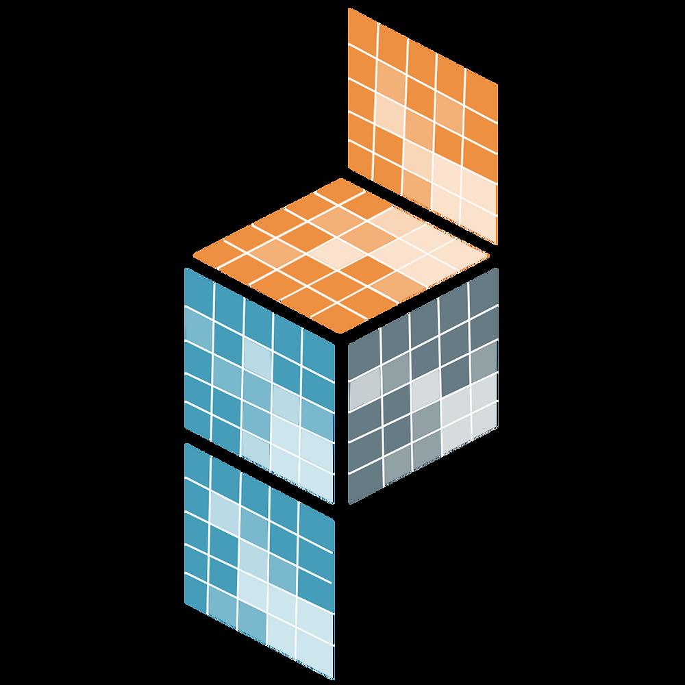 The blue, orange, and grey PyData/sparse logo