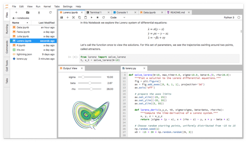 A screenshot of a Jupyterlab session showing a simulation of the Lorenz equations