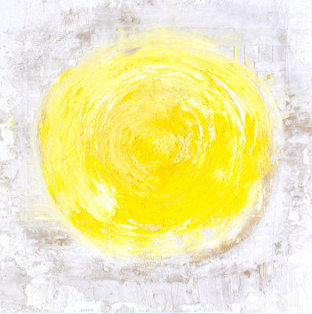 Gelbes Mandala auf weißem Grund