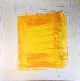 Gelbes Quadrat auf weißem Grund