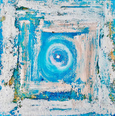Quadrat blau-weiß