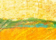 Feld und gelber Himmel
