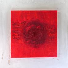 Rotes Mandala auf Weiß