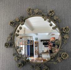 "Rod Iron Rose Mirror. 36"" Round"