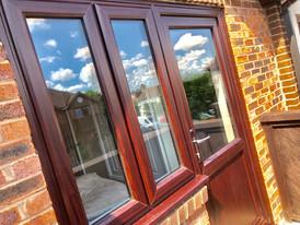 Mahogany style windows and back door