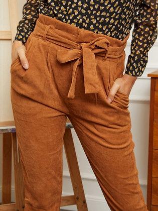 Pantalon paperbag velours camel