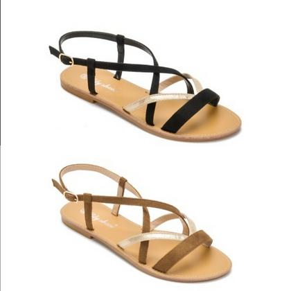 Sandales plates camel ou noire