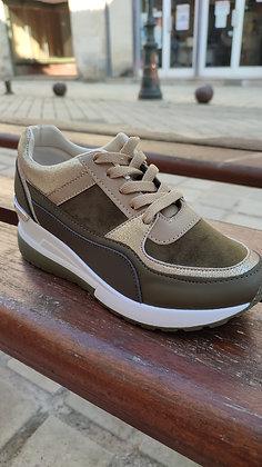 Sneaker compensée kaki