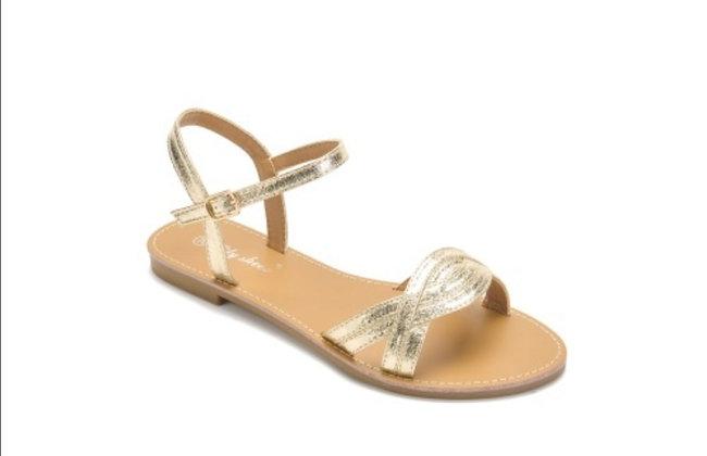 Sandale plate dorée