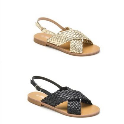 Sandale tressage doré ou noir