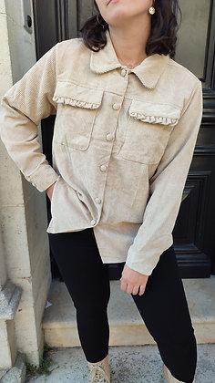 Sur chemise velours beige