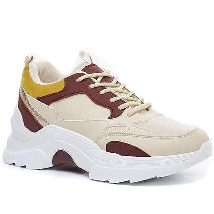 Sneakers bordeaux et beige