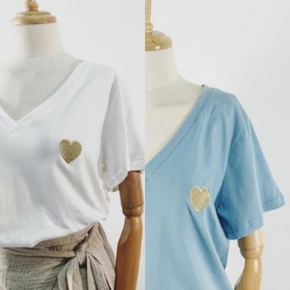 T-shirt broderie cœur