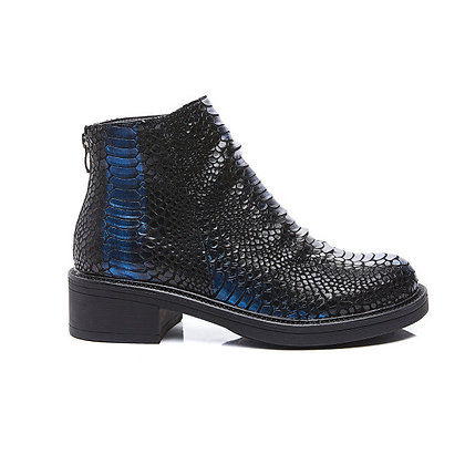 Boots plissées bleu