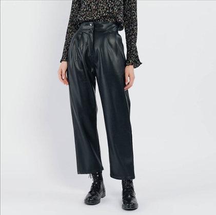 Pantalon droit simili noir